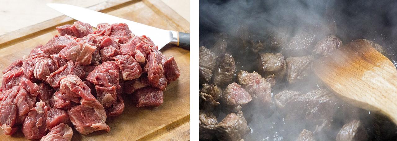 Rundvlees gebakken voor hachee