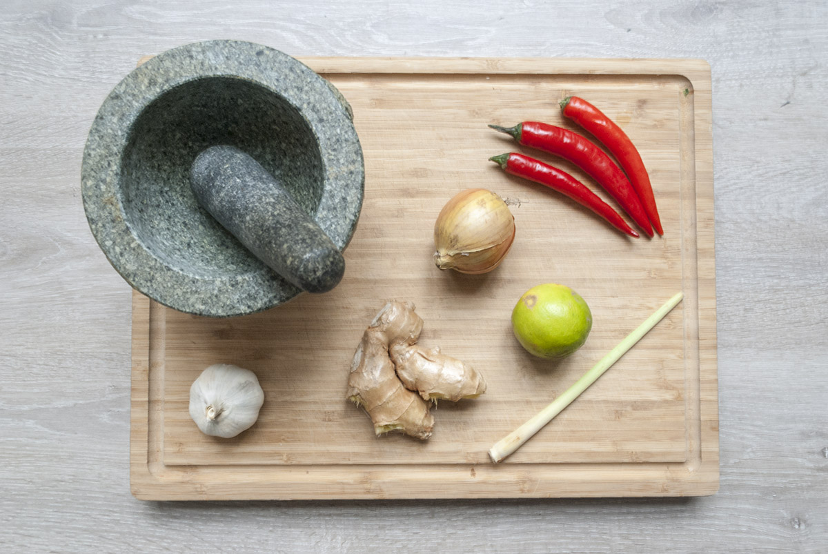 Gele Curry Pasta bovenaf-s