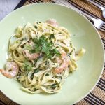 Linguine met garnalen in gorgonzola room saus